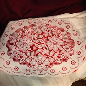 4 red Christmas Doily Placemats